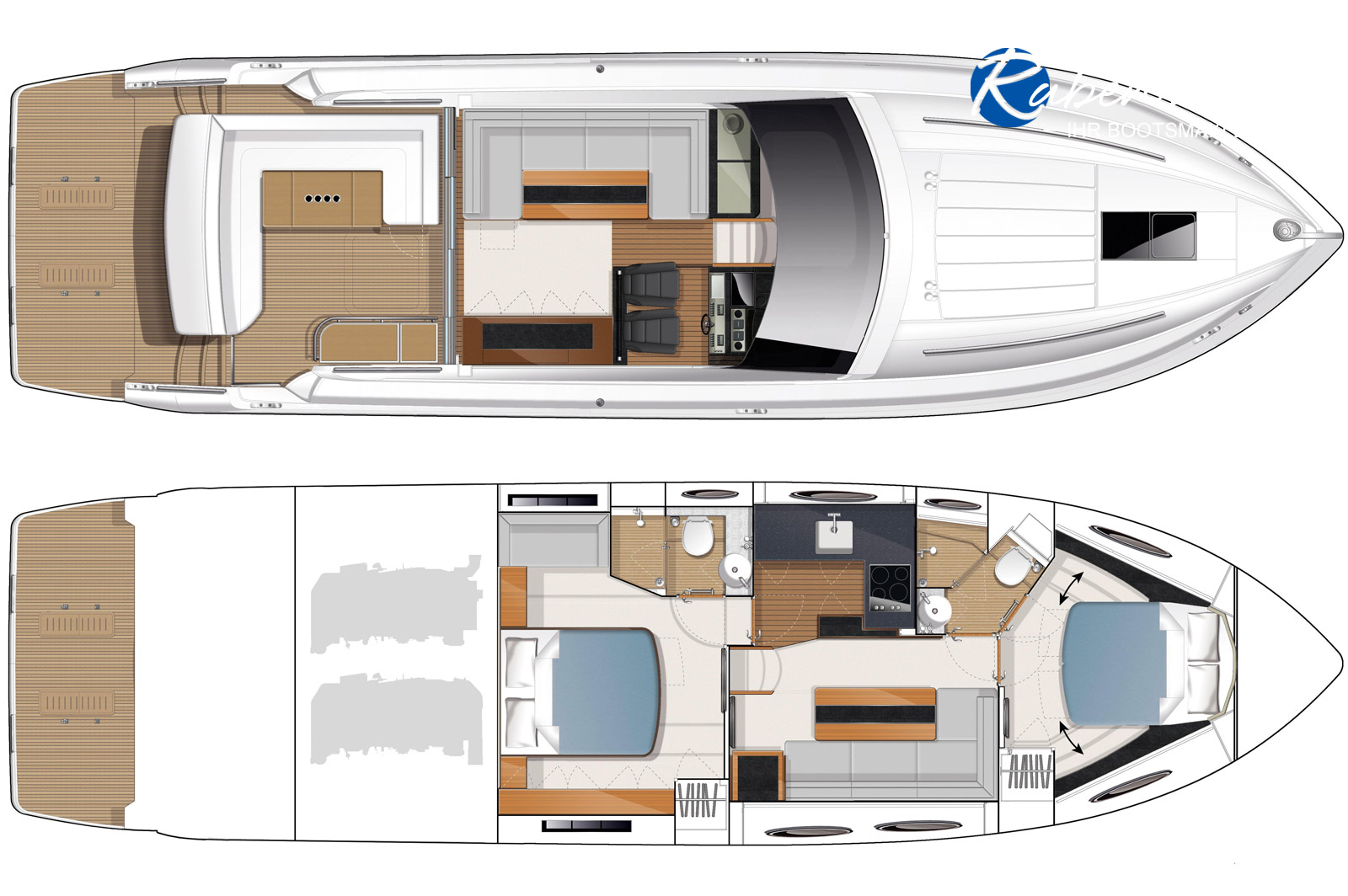 This Prncess V52 is for sale - layout view